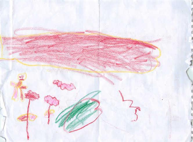 "Gadis 4 tahun dari Homs menggambar ini untuk seorang psikiater di Amman. Gadis ini telah menyaksikan pamannya dibunuh dengan tank, dan terus-terusan berucap ""Paman, tank, darah"", menurut sang psikiater. Ibunya mengatakan tetangga mereka diperkosa oleh prajurit-prajurit Suriah di hari yang sama. (Yassar Kanawati)"