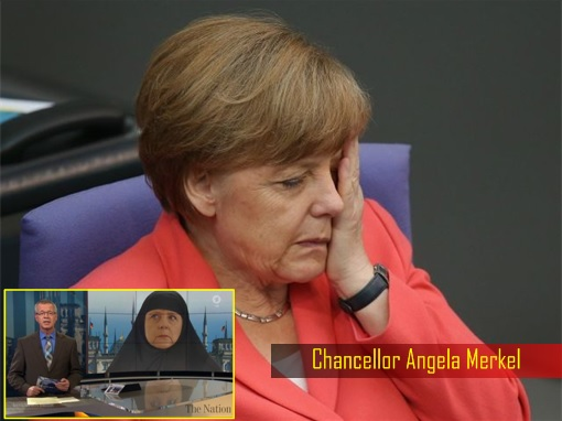 Kanselir Jerman Angela Merkel yang tampak sedih ditunjukkan sedang memakai hijab dalam TV Jerman.